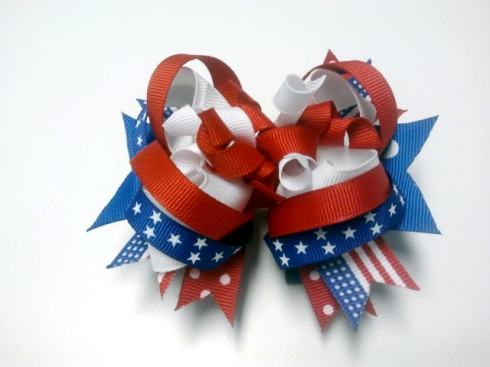 Fireworks 4th of July Stacked Boutique Bow